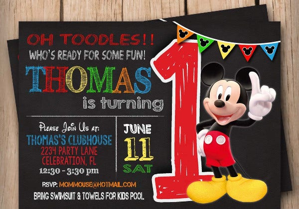 9+ Mickey Mouse Birthday Invitation Designs & Templates ...