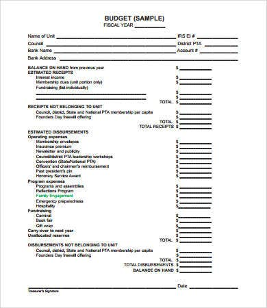 Budget Forms   Free Pdf Documents Download  Free  Premium Templates