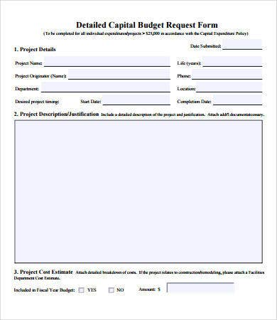 Funding Request Form Budget Forms   Free Pdf Documents
