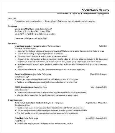 entry level social work resume