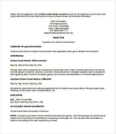 school social work resume