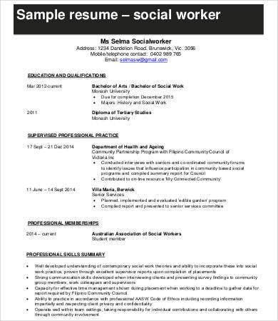 Social Work Resume   Free Word Pdf Documents Download  Free