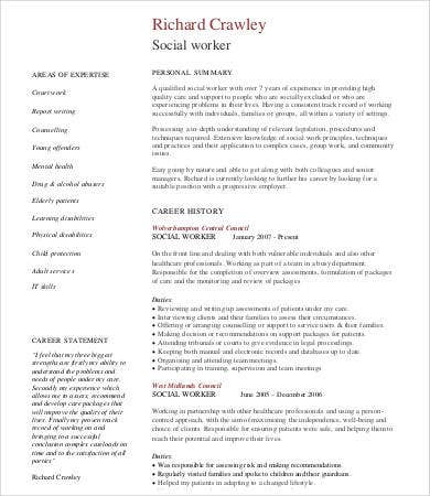 professional social worker resume