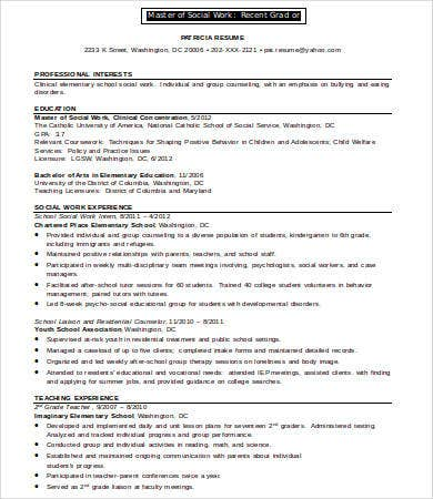 social work resume for recent graduate