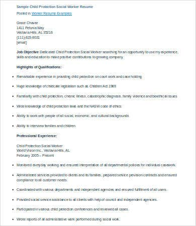 social work resume for child protection