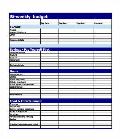 Budget Forms   Free Pdf Documents Download  Free  Premium