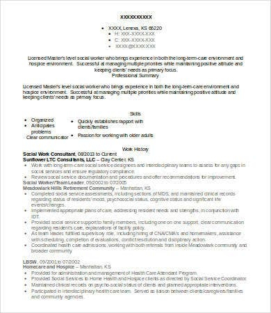social work consultant resume