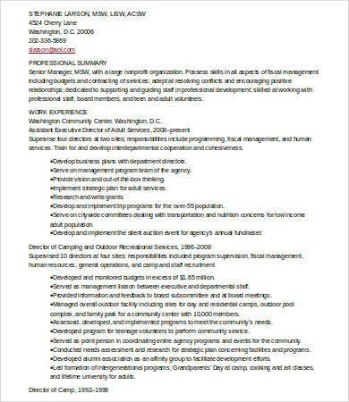 senior manager social work resume