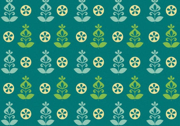 Teal Green Retro Flower Vector Pattern