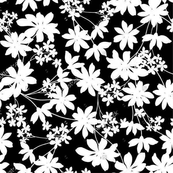 black white flower pattern