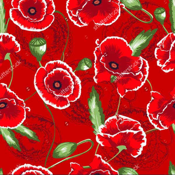 red flower vector seamless pattern