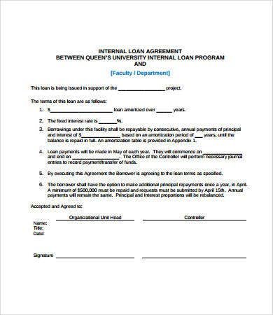 simple internal loan agreement template1