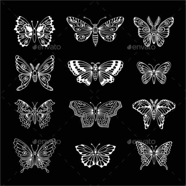beautiful butterfly silhouettes