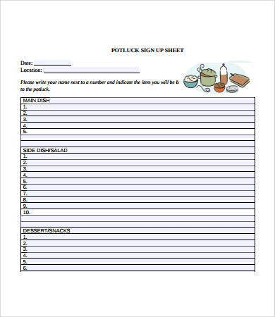 Free Potluck Signup Sheet Template  Free Printable Sign Up Sheets