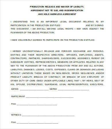 Release Of Liability Waiver Form  Free Printable Liability Release Form