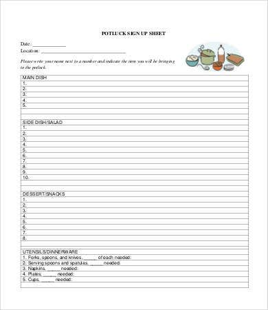 Potluck Signup Sheet - 9+ Free Pdf, Word Documents Download | Free