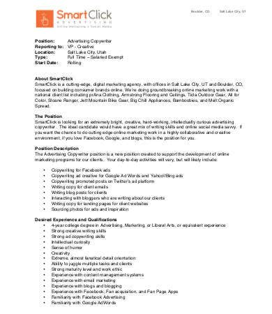 advertising copywriter job description