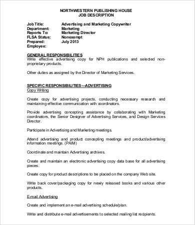 copywriter advertising job description