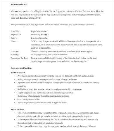 digital copywriter job description