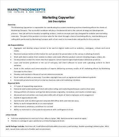 marketing copywriter job description