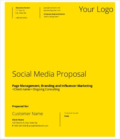 Social Media Proposal Template   Free Word Pdf Documents