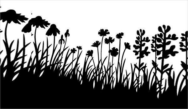 grass and flower silhouette