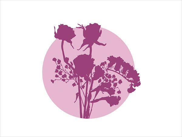 purple flower silhouette