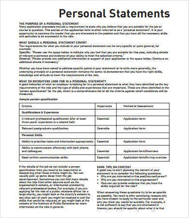 personal statement format for job