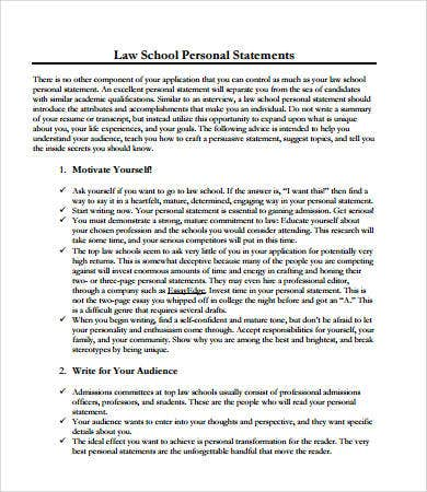 Law School Personal Statement Format