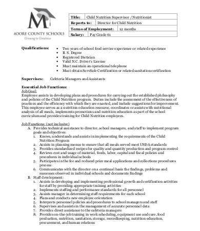 child nutritionist job description