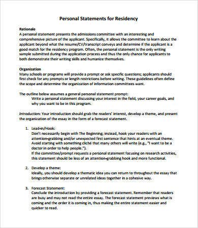 residency personal statement format