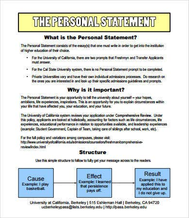 Personal Statement Format   Free Pdf Word Documemts Download