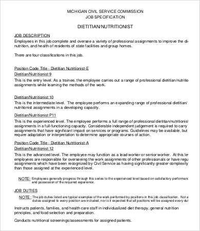 Dietitian Job Description. Junior Sales Engineer Job Description