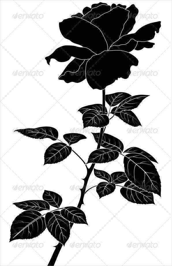 black rose flower silhouette1