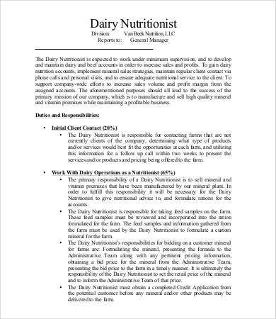 dairy nutritionist job description