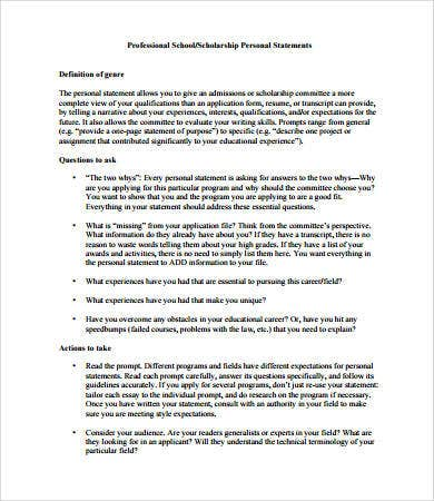 personal statement format for scholarship
