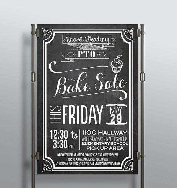 Black and White Bake Sale Flyer