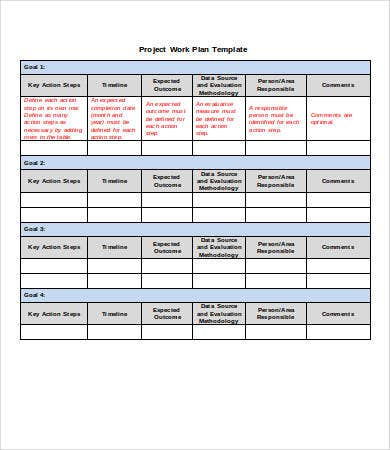 Project Work Plan Template Word  Planner Template Word