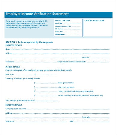 Employment Income Verification Form Template  Past Employment Verification Form