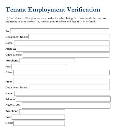 Employment Verification Form   Free Word Pdf Documents Download