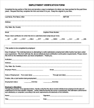 Attractive Free Printable Employment Verification Form On Past Employment Verification Form
