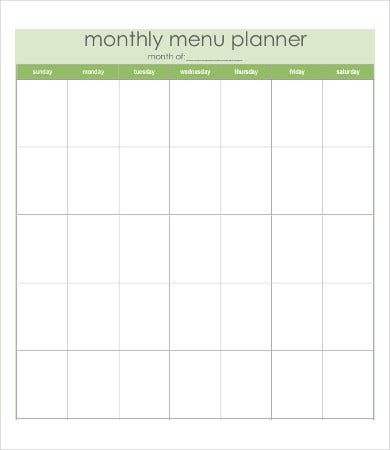 blank monthly food calendar
