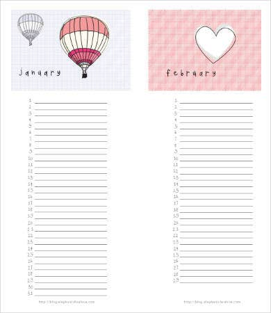 Printable Blank Birthday Calendar