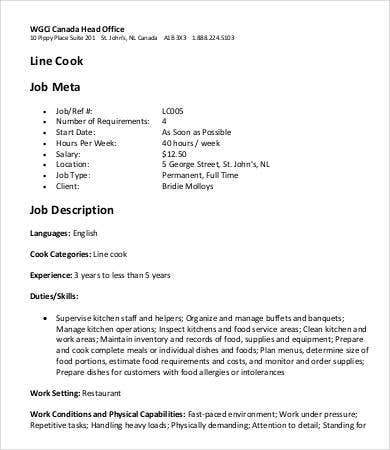 Line Cook Job Meta Job Description