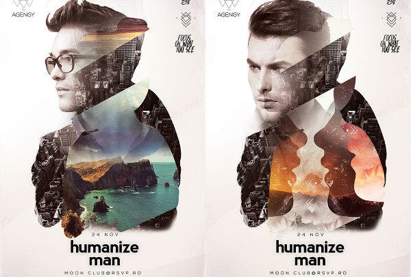 humanize poster with double exposure