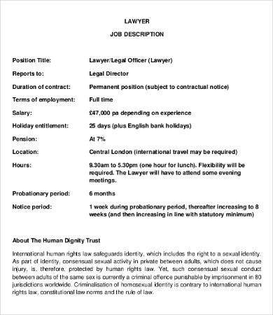 Lawyer Job Description - 8+ Free PDF Documents Download | Free ...