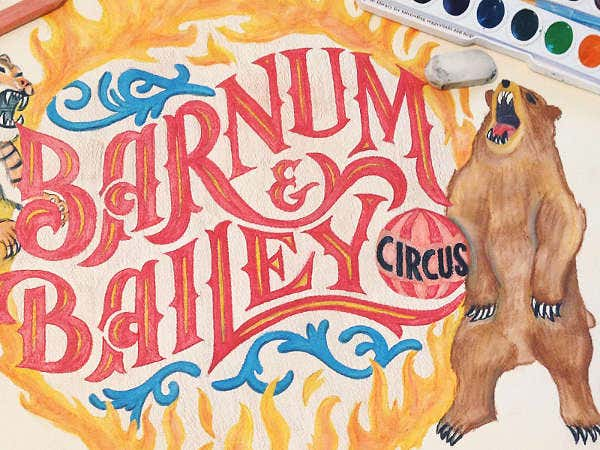 watercolor typography with bear