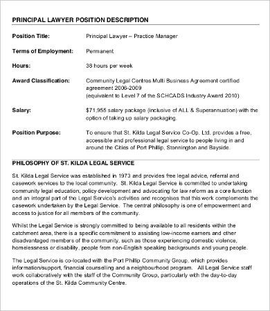 10 lawyer job description templates pdf doc free premium principal lawyer job description platinumwayz