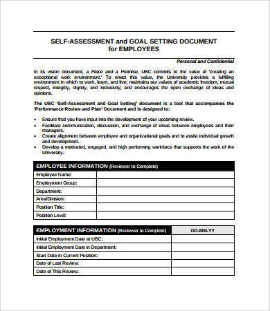 Employee assessment 8 free pdf word documents download for Self assessment templates employees