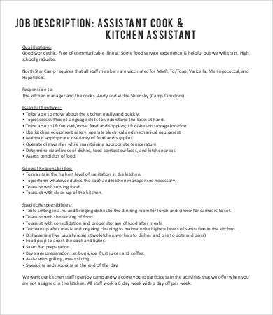 Kitchen hand description for Kitchen job description